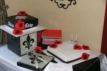 Modern 80th birthday cake.  Black and White with Red Poppies.