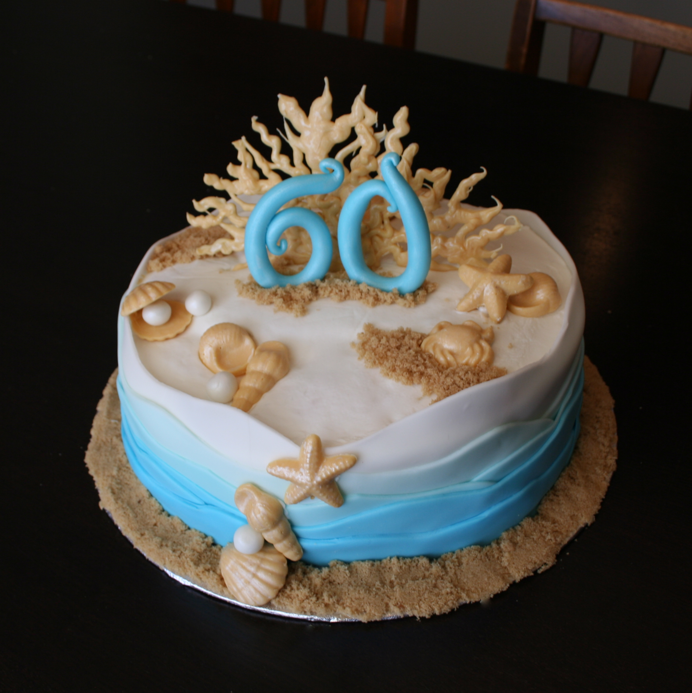 Coastal Beach Themed 60th Birthday Cake