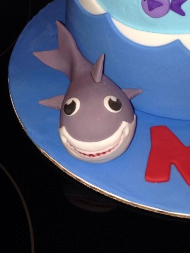 Shark Birthday Cake with edible fondant shark